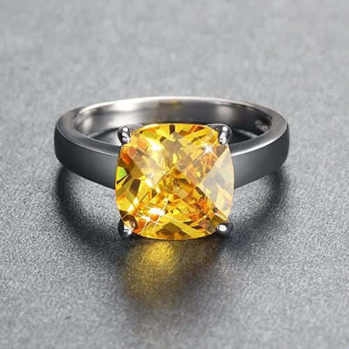 SN8ZDY32 925 Sterling Silver Yellow Cushion Cut Citrine CZ Ring