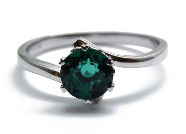 SOOTSIUV 14K White Gold & Emerald Ring