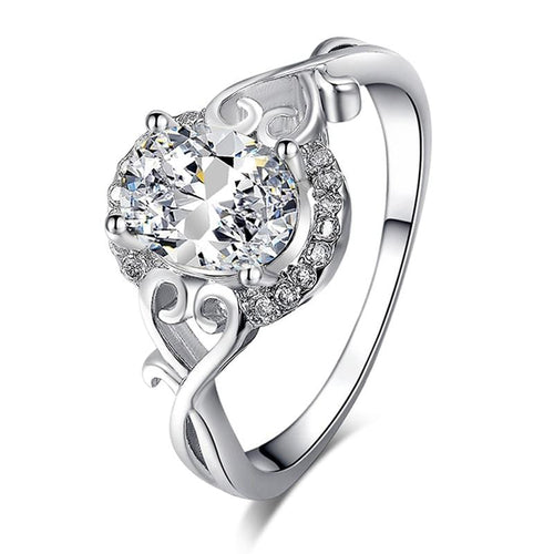 SQN8WPLC White Gold Plated AAA CZ Ring