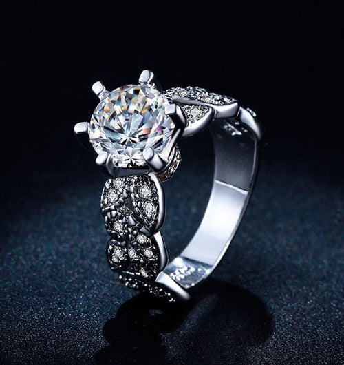 SV7PMI33 Sterling Silver Plated AAA CZ Ring