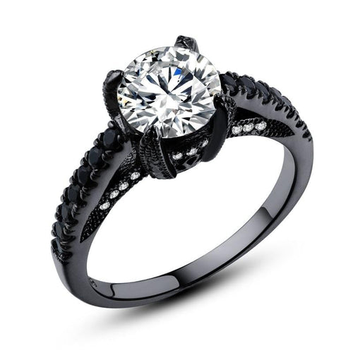 SX0YYG5Y Black Gold Plated AAA CZ Ring