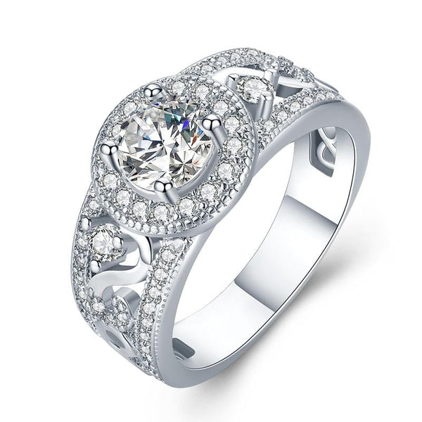 T0YKYQ3I White Gold Plated CZ Ring