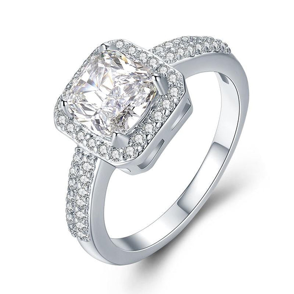 T1DDGIB6 White Gold Plated CZ Ring