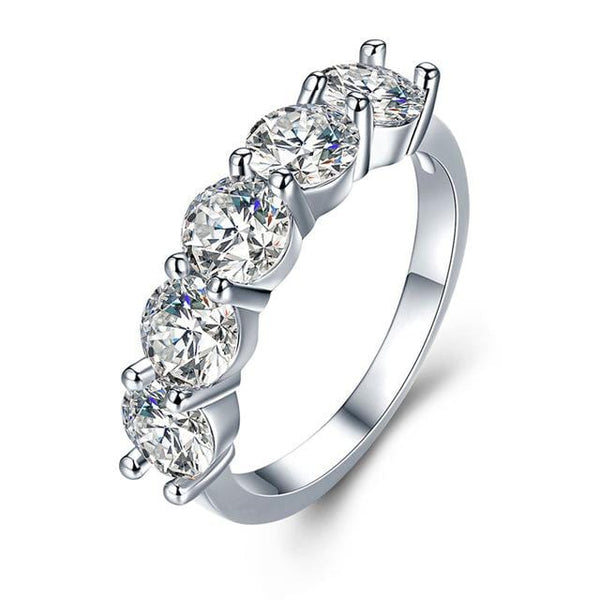 T965A8CN White Gold Plated CZ Ring