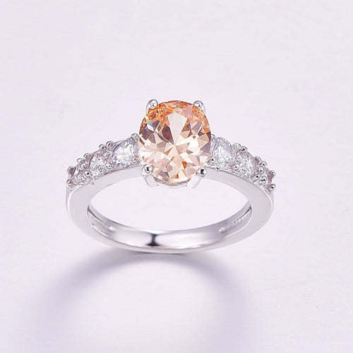 TANPN7N3 Silver Plated Champagne CZ Ring