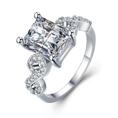 TJRZFDKH White Gold Plated CZ Crystal Ring