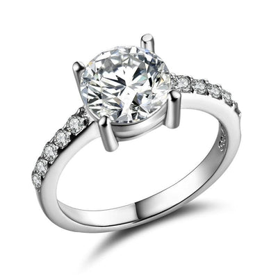 TK5OK6JO White Gold Plated Round CZ Ring