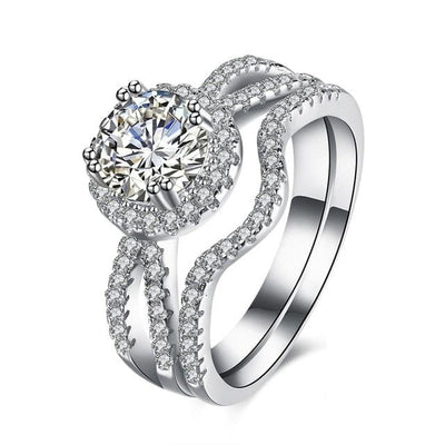 TO8PIQBE 925 Sterling Silver AAA CZ Ring Set