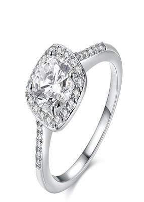 TUV5Y3LM White Gold Plated CZ Ring