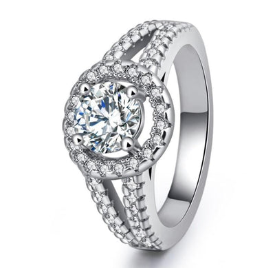 U0R4S2MK White Gold Plated CZ Ring