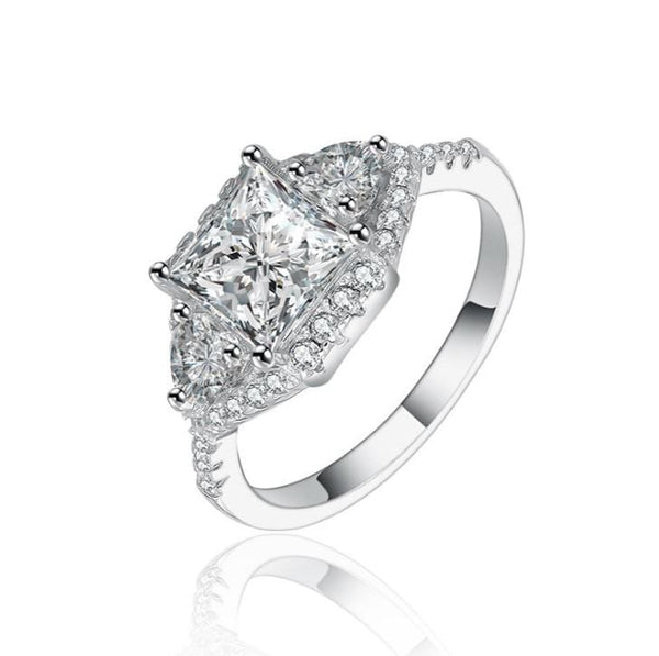 U4LPP87K White Gold Plated CZ Ring