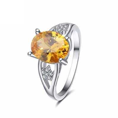 UAL4UZM3 925 Sterling Silver Yellow Citrine CZ Ring