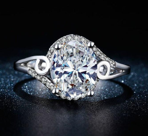 UCHAFRB8 White Gold Plated CZ Ring