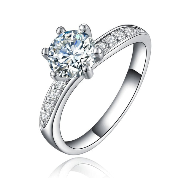 UEBWUL69 White Gold Plated CZ Ring