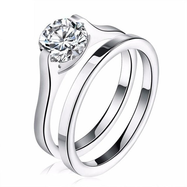 UHD4HYHN Stainless Steel CZ Ring Set
