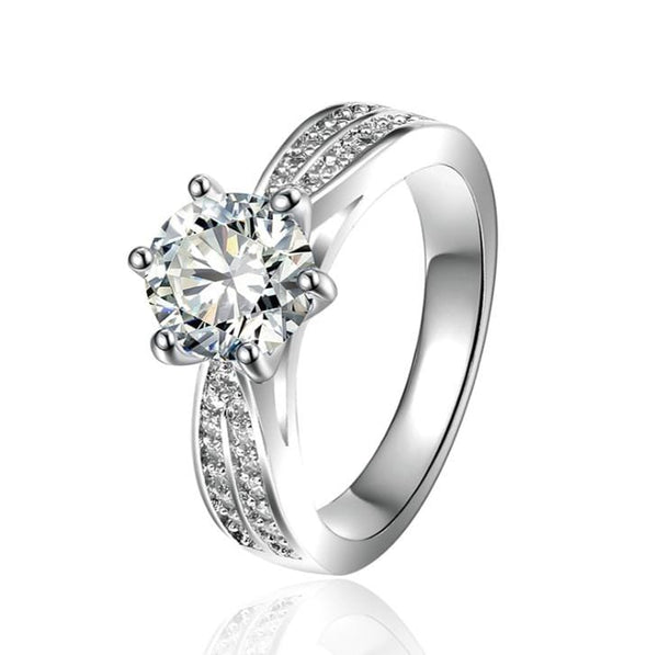 UJ7P56TS White Gold Plated CZ Ring
