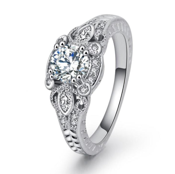 ULPKQ5CA White Gold Plated CZ Ring