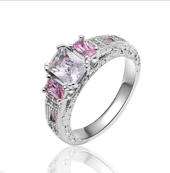 UVARCDA9 White Gold Plated CZ Ring