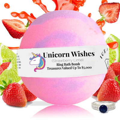 Unicorn Wishes Ring Bath Bomb (Strawberry / Lime)