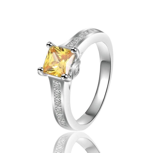 VAZNEOZJ White Gold Plated Yellow CZ Ring