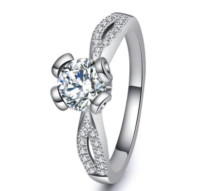 VECWCPYR White Gold Plated CZ Ring