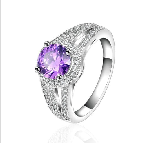 VEUH1T4O White Gold Plated Purple CZ Ring