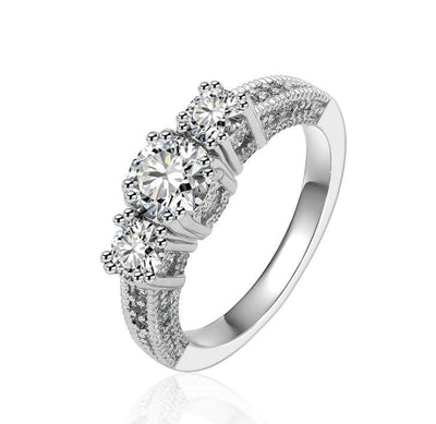 VHOUPXGH White Gold Plated CZ Ring