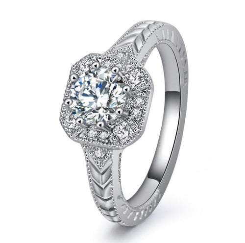 VIWQZHR2 White Gold Plated CZ Ring