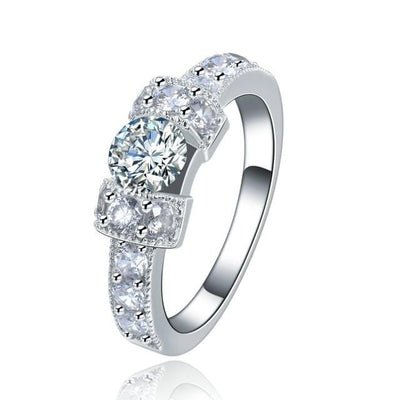 VL3851P7 White Gold Plated AAA CZ Ring