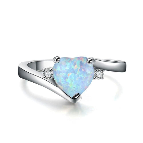 VVRH7SEO White Gold Filled Heart Opal & CZ Ring