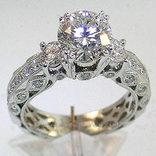 LXTGXKKG 14 Karat White Gold Filled Victoria Wieck Inspired Vintage Three-stone CZ Ring