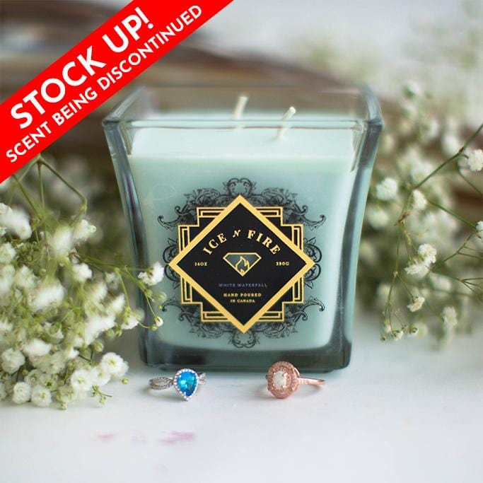 White Waterfall Ring Candle
