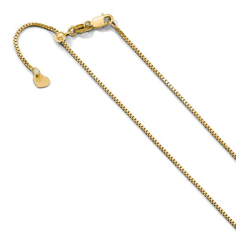 "0.9MM Adjustable Box Chain (Adjusts up to 22"") - 10K Yellow Gold"