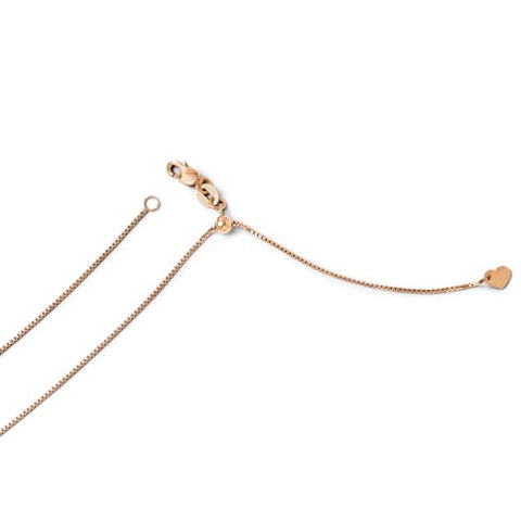 "0.7MM Adjustable Box Chain (Adjusts up to 22"") - 10K Rose Gold"