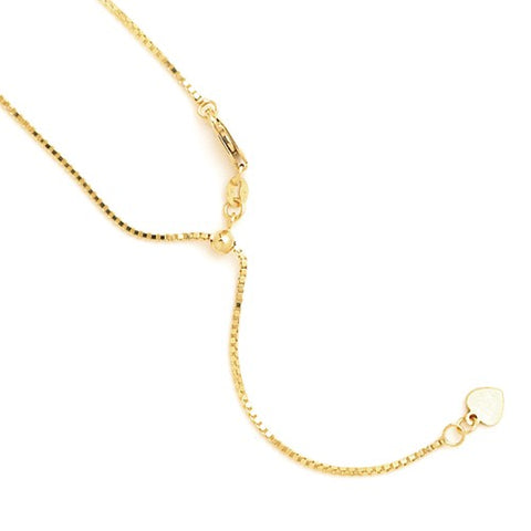 "0.9MM Adjustable Box Chain (Adjusts up to 22"") - 14K Yellow Gold"