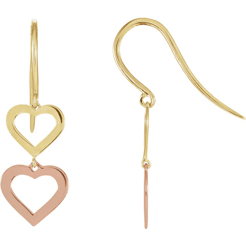 22MM Two-Tone Heart Dangle Earrings - 14K Yellow & Rose Gold