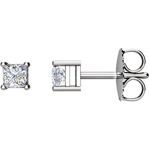 1/3 CTW Princess-Cut Diamond Earrings I1 G-H  (Available in 14K White, Yellow or Rose Gold)