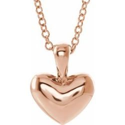 "10MM Heart Charm on 15"" Cable Chain - 14K Rose Gold"