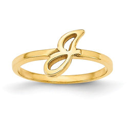 Script Single Letter Initial Ring (Available in sizes 5-7) - 10K Yellow Gold