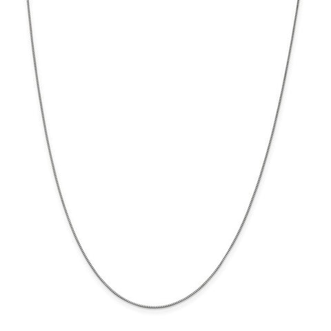 "0.7MM Box Chain (Available in 16"", 18"" and 20"") - 10K White Gold"