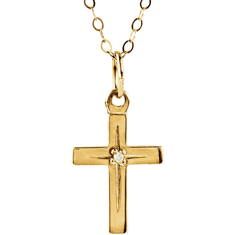 "13MM Diamond Cross Charm on 15"" Cable Chain - 14K Yellow Gold"