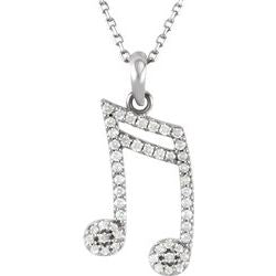 "23MM Diamond Double Sixteenth Music Note Charm on 16"" Chain - 14K White Gold"