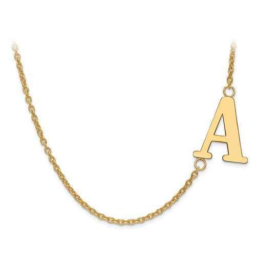 "19x16MM Offset Initial 18"" Necklace (Available in letters A-Z) - 14K Yellow Gold"