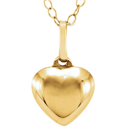 "9MM Puffed Heart Charm on 15"" Cable Chain - 14K Yellow Gold"
