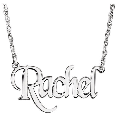 "34x14MM Block Nameplate on 16"" Chain - Sterling Silver"