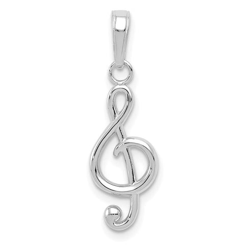 17MM Treble Clef Music Note Charm - 14K White Gold