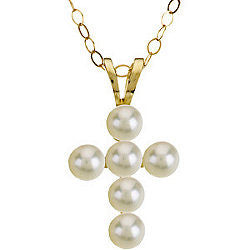 "12MM Pearl Cross Charm on 15"" Cable Chain - 14K Yellow Gold"