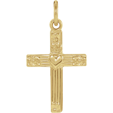 13MM Cross with Heart Charm - 14K Yellow Gold