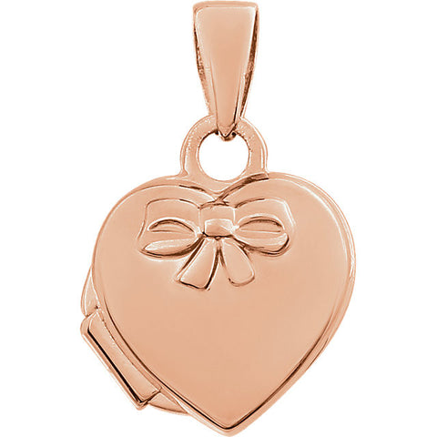 17MM Heart Locket Charm with Bow- 14K Rose Gold