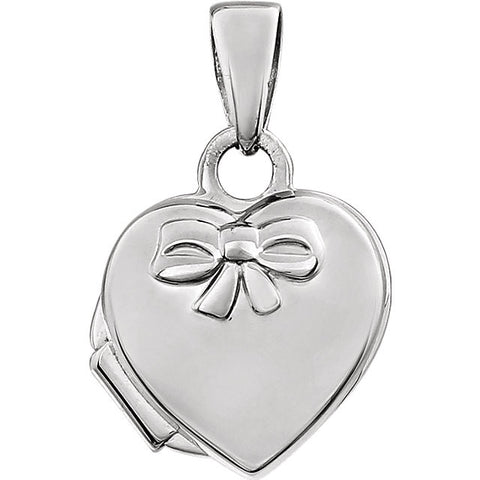 17MM Heart Locket Charm with Bow- 14K White Gold